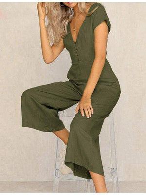 Casual V Neck High Waist Wide Leg Long Jumpsuit - Jumpsuits - Zooomberg - Zoomberg