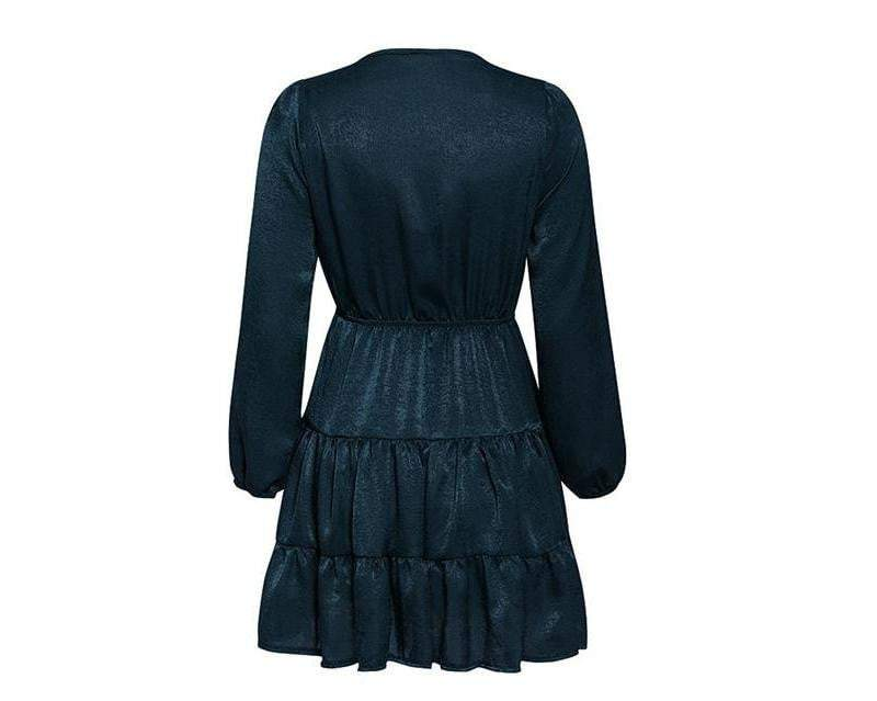 Elegant Long Sleeve Belted Ruffle Neckline Solid Dress - Dresses - Zooomberg - Zoomberg