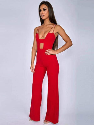 Solid Hollow Out Rompers Zipper Jumpsuit - Jumpsuits - Zooomberg - Zoomberg