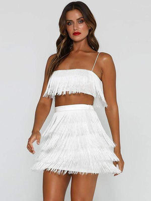 White Spaghetti Strap Tassel Sexy Women Autumn Winter Two-Piece - Two Piece Outfits - Zooomberg - Zoomberg