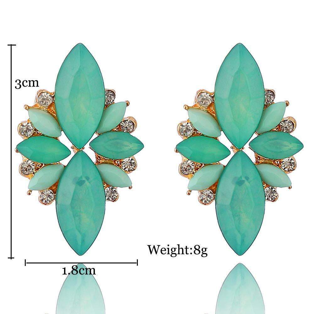 Colorful Gem Earring Drop dangle Resin Statement Earrings - zooomberg