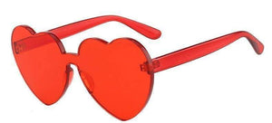 Red Poppy Color Heart Shaped Rimless Sunglasses - Sunglasses - Zooomberg - Zoomberg