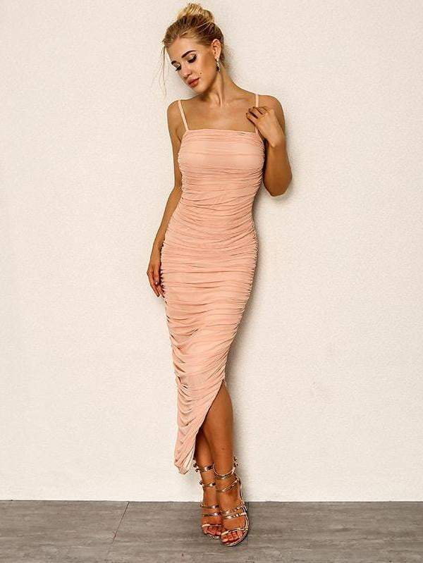 Pink Chiffon Summer Bodycon Vestido Dress