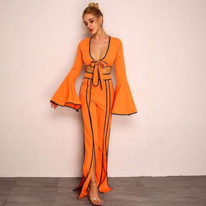 Orange Autumn Splti Sexy Two Piece Set - Two Piece Outfits - Zooomberg - Zoomberg