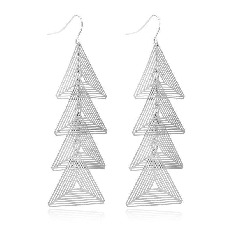 Silver Brincos Triangle Metal Earrings - zooomberg