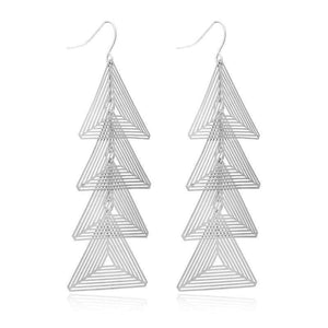 Get Silver Brincos Triangle Metal Earrings with RS. 790.00