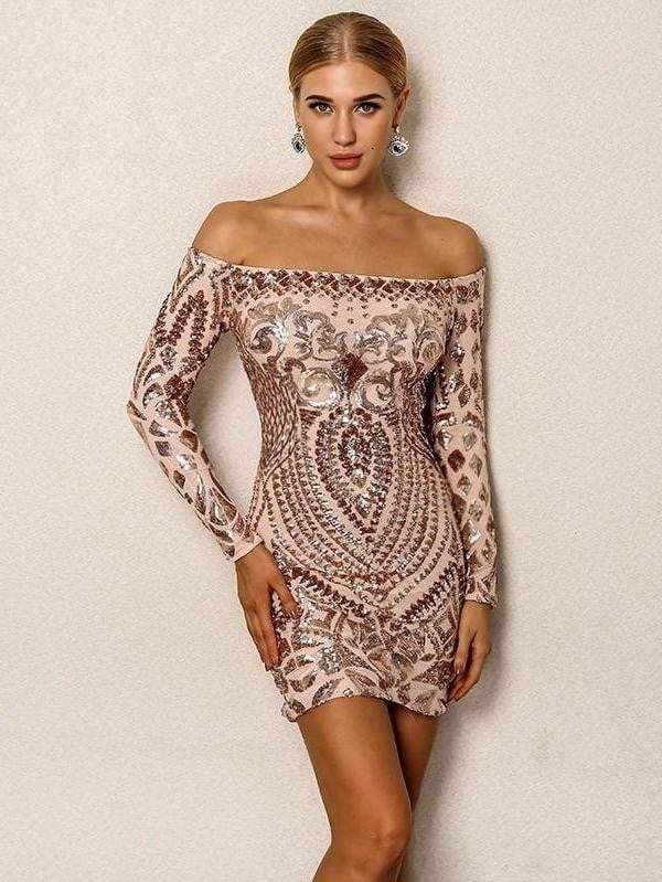 Gold Sexy Sequined Short Dress