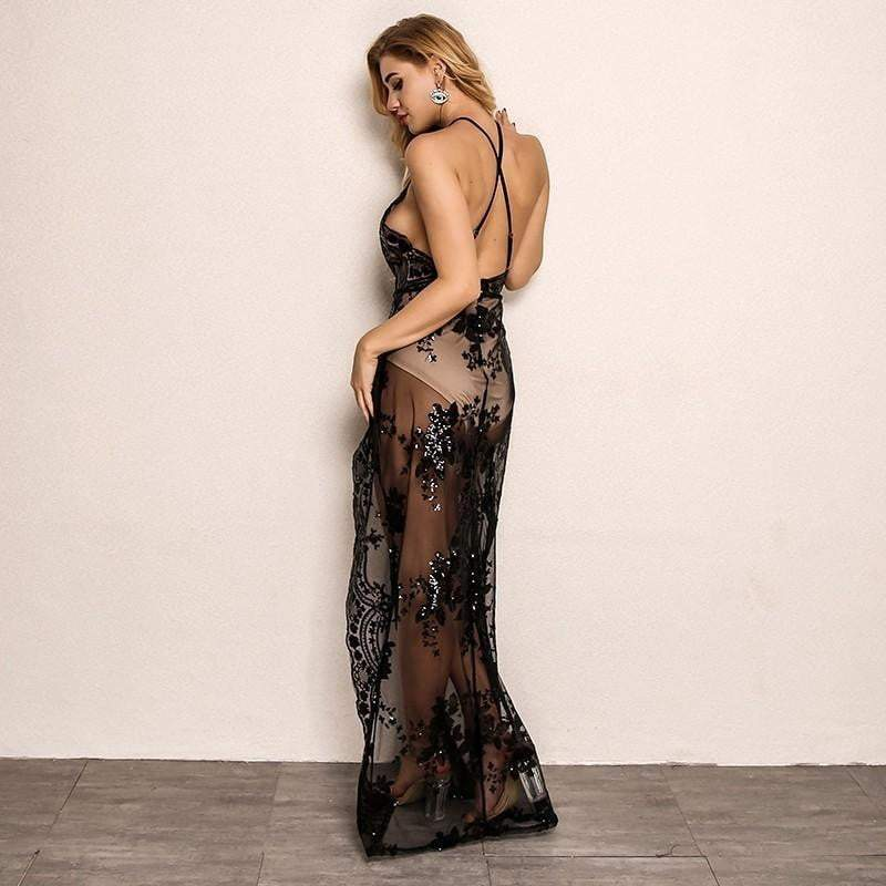 Black Backless V-Neck Women  Floral Sequin Long Party Dress - zooomberg