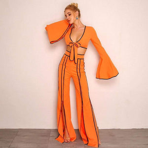 Orange Autumn Splti Sexy Two Piece Set