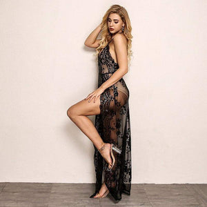 Black Backless V-Neck Women  Floral Sequin Long Party Dress - Dresses - Zooomberg - Zoomberg