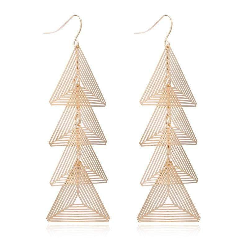 Gold Brincos Triangle Metal Earrings