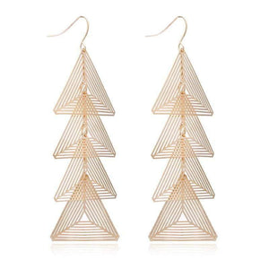 Get Gold Brincos Triangle Metal Earrings with RS. 790.00