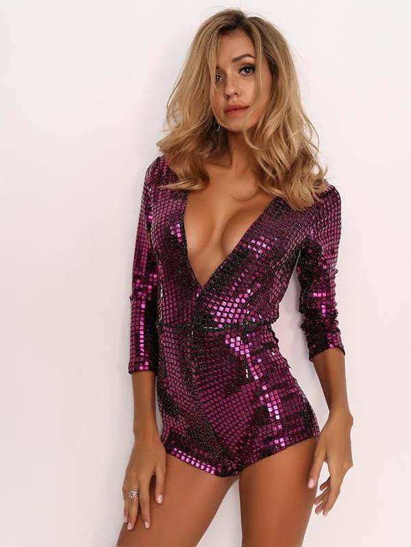 Rose Sexy Bodysuit Sequin Rompers - zooomberg