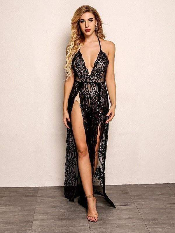 Black Backless V-Neck Women  Floral Sequin Long Party Dress