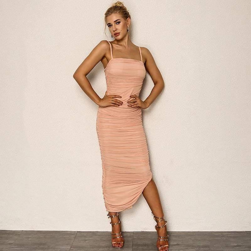 Pink Chiffon Summer Bodycon Vestido Dress - zooomberg