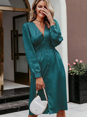 Deep V Neck Satin Vintage Long Sleeve Party Dress - Dresses - Zooomberg - Zoomberg