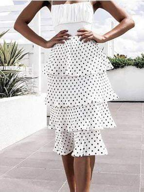 Off Shoulder Ruffle Polka Dot Party Mini Dress Skirt - zooomberg