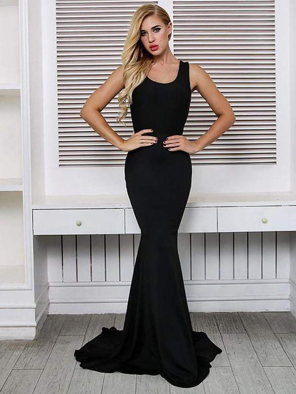 Black Maxi Woman Backless Sexy Dress - zooomberg
