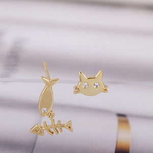 Small Cute Fish Cat Stud Earrings - Earrings - Zooomberg - Zoomberg