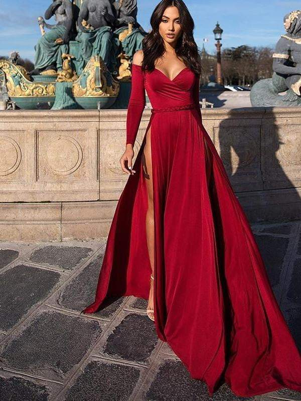 Red Sexy Women Elegant Long Sleeve Lace Up Party Dresses