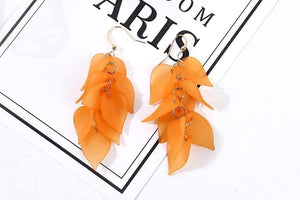 Get Multilayers Sweet Leaves Resin Long Drop Earring with RS. 590.00