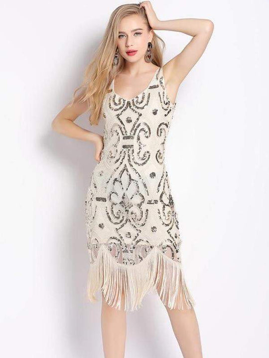 Gatsby Party Flapper Double V-Neck Sleeveless Dress - zooomberg