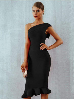 One Shoulder Sleeveless Ruffles Nightclub Dress - Dresses - Zooomberg - Zoomberg
