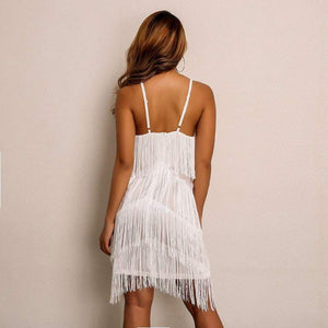 White Spaghetti Strap Autumn Winter Tassel Dress - Dresses - Zooomberg - Zoomberg