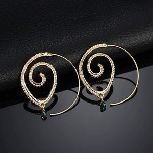 Get Ethnic Style Geometric Swirl Hoop Earring with RS. 280.00