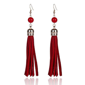 Get Vintage Long Tassel Designer Handmade Leather Earrings with RS. 230.00