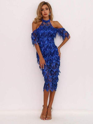 Blue High Neck Split Sequin Women Tassel Clubwear Party Dresses - Dresses - Zooomberg - Zoomberg
