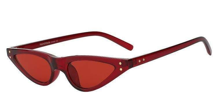 Red Feminine Cat-Eye Sunglasses