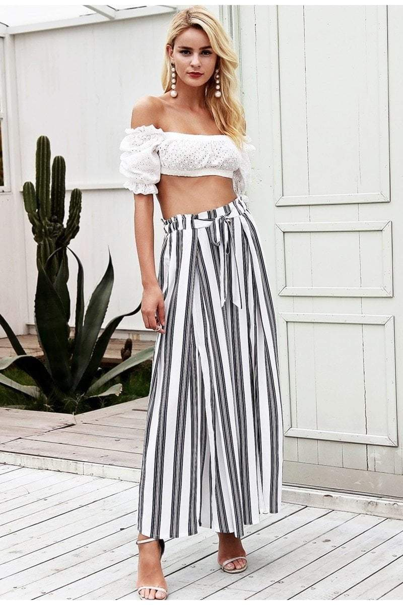 High Waist Loose Striped White Pants - zooomberg