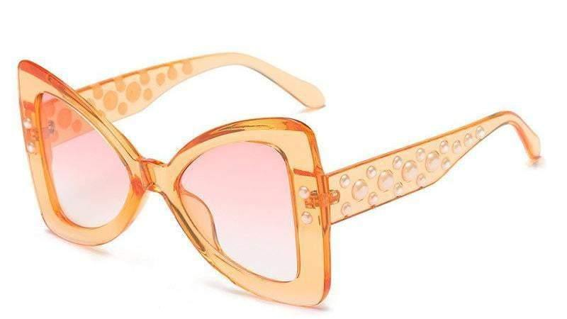 Orange Triangle Pearl Frame Sexy Cat Eye Sunglasses - Sunglasses - Zooomberg - Zoomberg