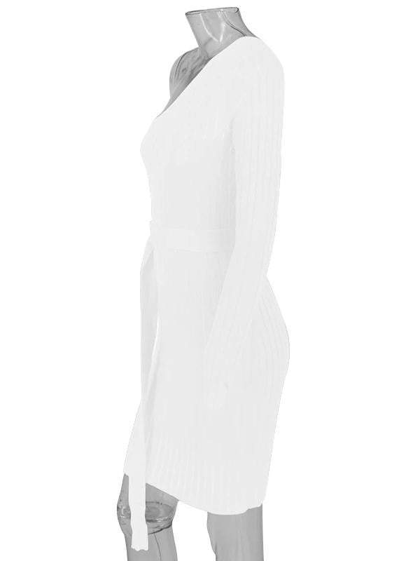 One Shoulder Women Knitting Dress - zooomberg