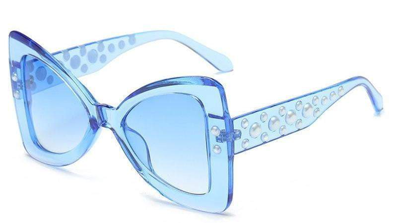 Blue Triangle Pearl Frame Sexy Cat Eye Sunglasses