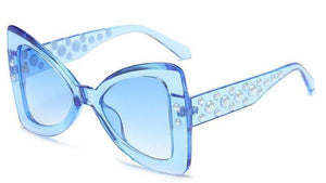 Blue Triangle Pearl Frame Sexy Cat Eye Sunglasses - Sunglasses - Zooomberg - Zoomberg