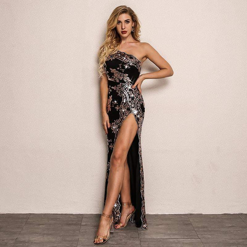 Black High Split Sexy Bodycon Sequin Dress - zooomberg