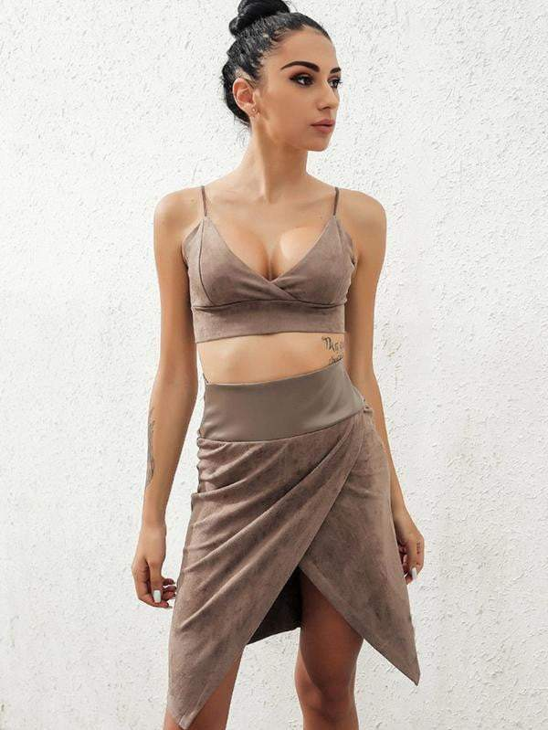 Brown Backless V-Neck Women Co-Ord