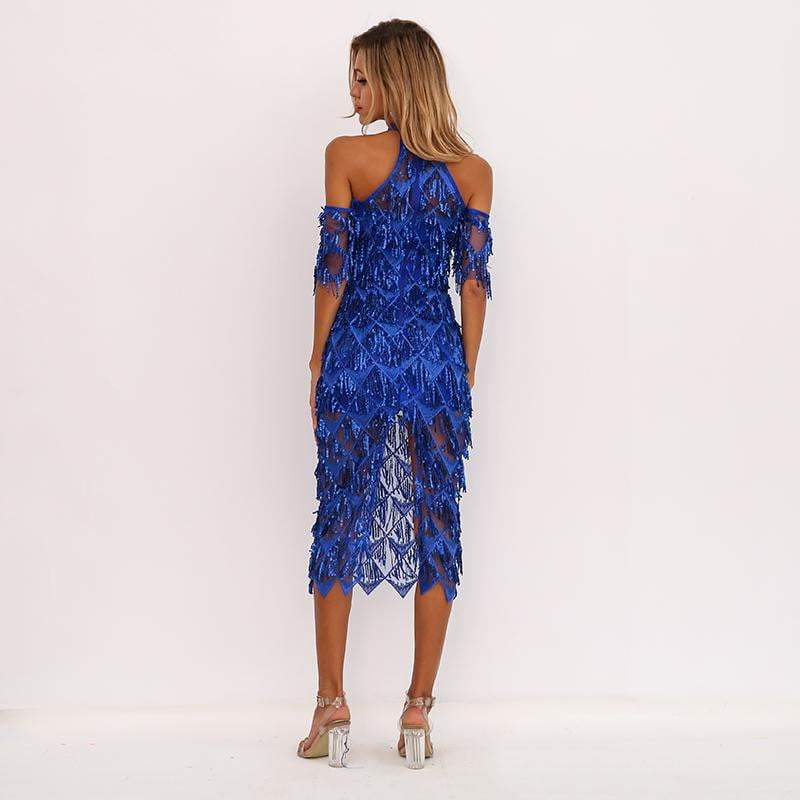 Blue High Neck Split Sequin Women Tassel Clubwear Party Dresses - zooomberg