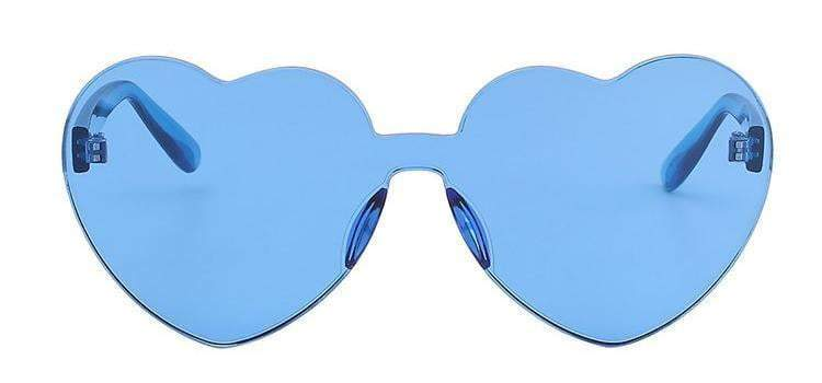 Blue Poppy Color Heart Shaped Rimless Sunglasses