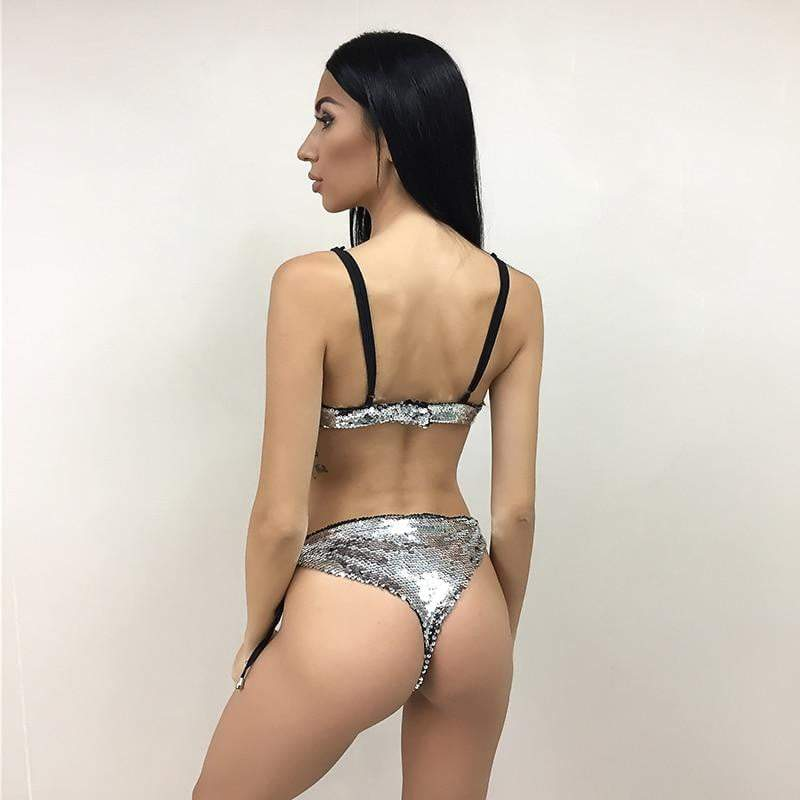 Silver Womens Sexy Backless V Neck Straps Sequin Bodysuit