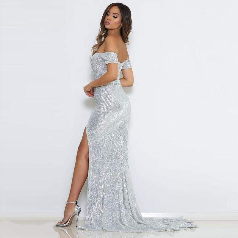 Silver Neck Split Maxi Vestido Longo Sequin Bodycon  Party Dress