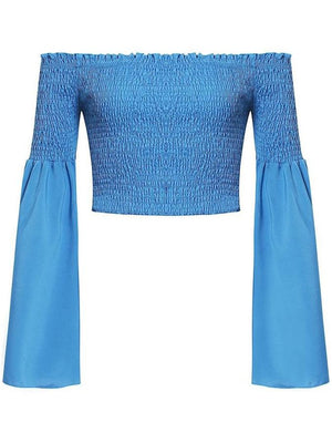 Flare Off Shoulder Sleeve Pleated Blouse Crop Top - Tops - Zooomberg - Zoomberg