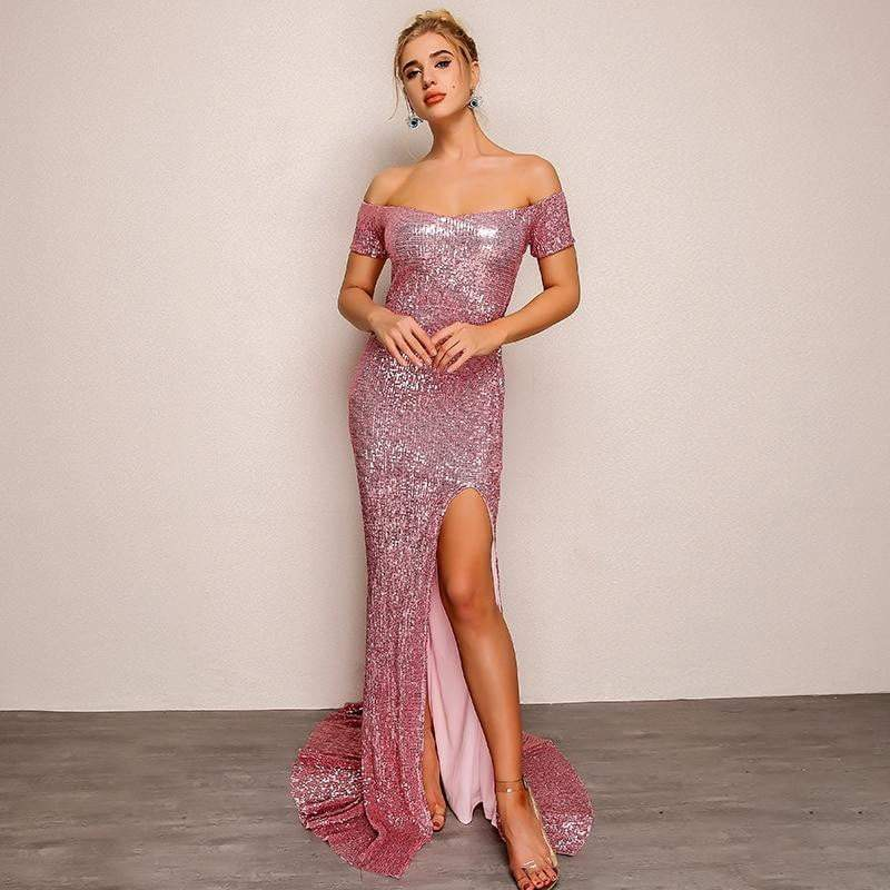 Pink Neck Split Maxi Vestido Longo Sequin Bodycon  Party Dress - Dresses - Zooomberg - Zoomberg