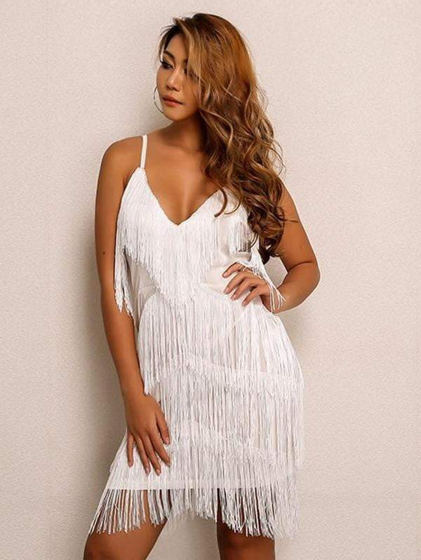 White Spaghetti Strap Autumn Winter Tassel Dress