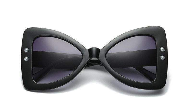 Black-Gray Triangle Pearl Frame Sexy Cat Eye Sunglasses - zooomberg