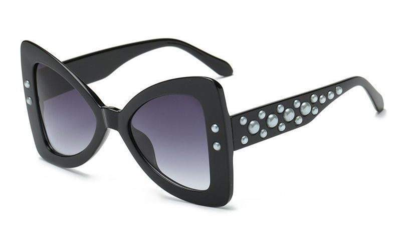 Black-Gray Triangle Pearl Frame Sexy Cat Eye Sunglasses