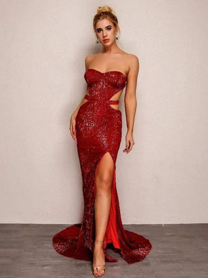 Red Backless Bandage Sequin Long Party Dress