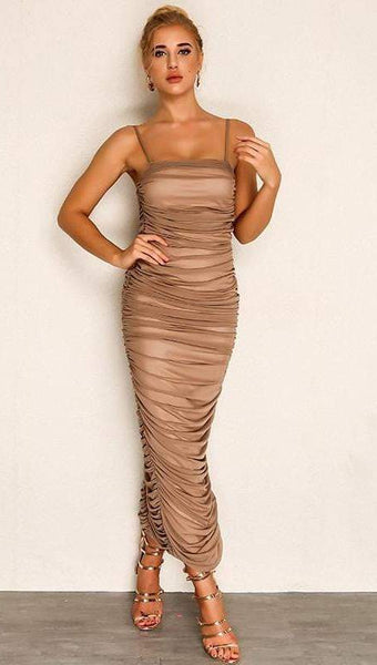Khaki Chiffon Summer Bodycon Vestido Dress